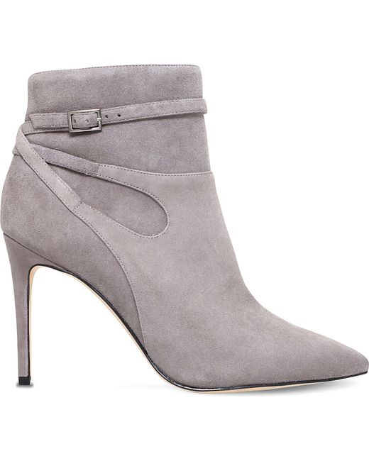 nine west tanesha suede heeled ankle boots in grey save
