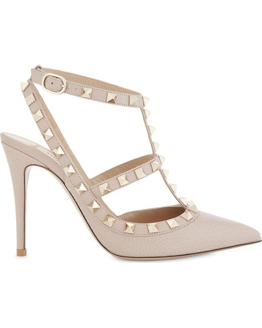 154f5405ede3 Lyst - Valentino Rockstud 100 Leather Courts in Metallic