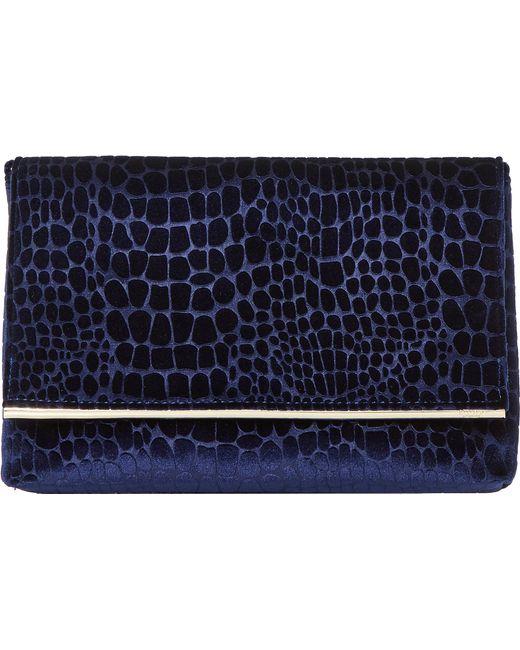 Dune   Blue Bronto Faux-croc Foldover Clutch Bag   Lyst