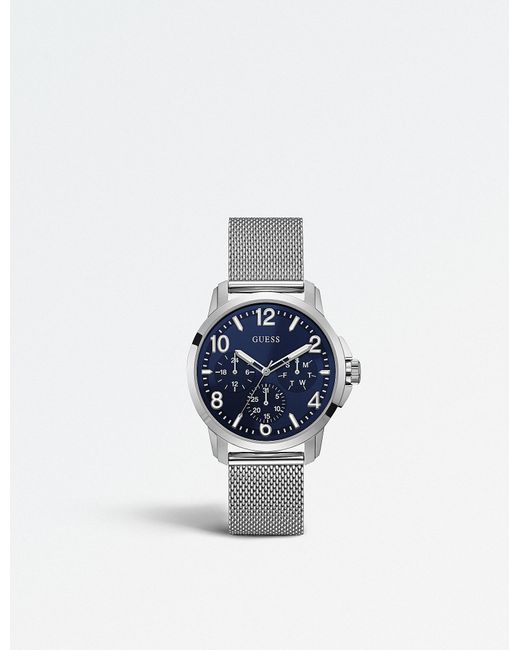 Guess - Blue W1040g1 Iconic Stainless Steel Chronograph Watch - Lyst