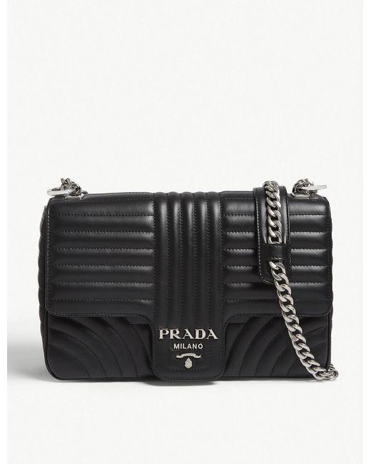 Prada - Black Quilted Leather Shoulder Bag - Lyst
