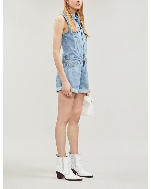 1aa78ff7c06 Lyst - Levi s Marian Sleeveless Denim Playsuit in Blue