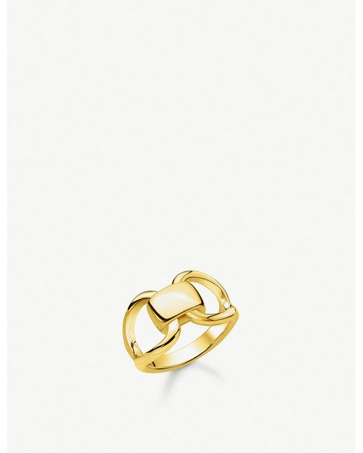 17181a6dee36 Thomas Sabo - Metallic Heritage 18ct Yellow-gold Plated Sterling Silver  Buckle Ring - Lyst