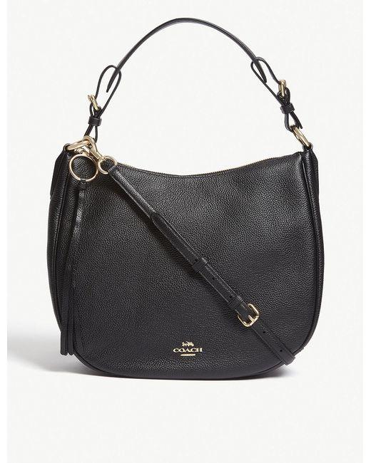885ccd4ea03 COACH Sutton Leather Shoulder Bag in Black - Lyst