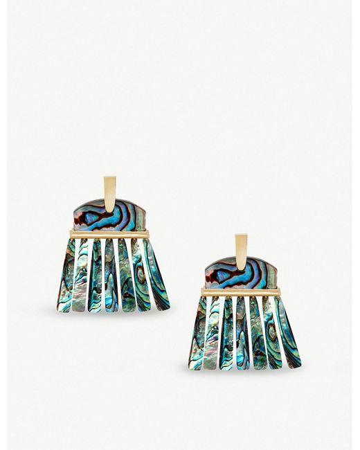 Kendra Scott - Blue Layne 14ct Gold-plated Abalone Shell Earrings - Lyst