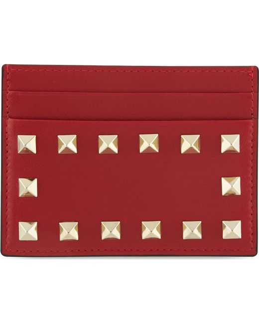 Valentino | Red Studded Card Holder | Lyst