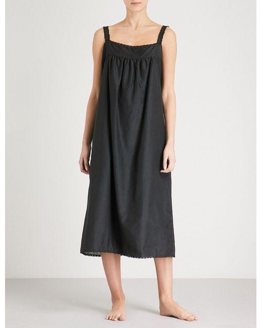 Bodas - Black Montauk Square Neck Cotton And Silk-blend Nightdress - Lyst