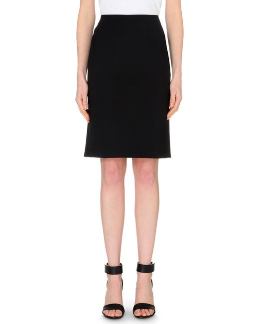 Theory - Black Stretch-wool Pencil Skirt - Lyst