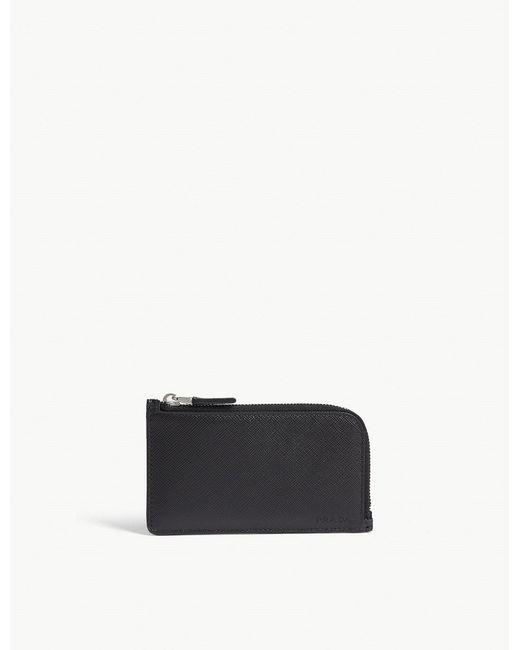 Prada - Black Saffiano Leather Zipped Card Case - Lyst