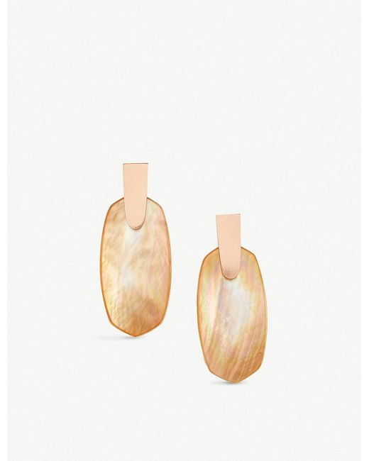 Kendra Scott - Metallic Aragon 14ct Rose Gold-plated And Brown Mother-of-pearl Earrings - Lyst