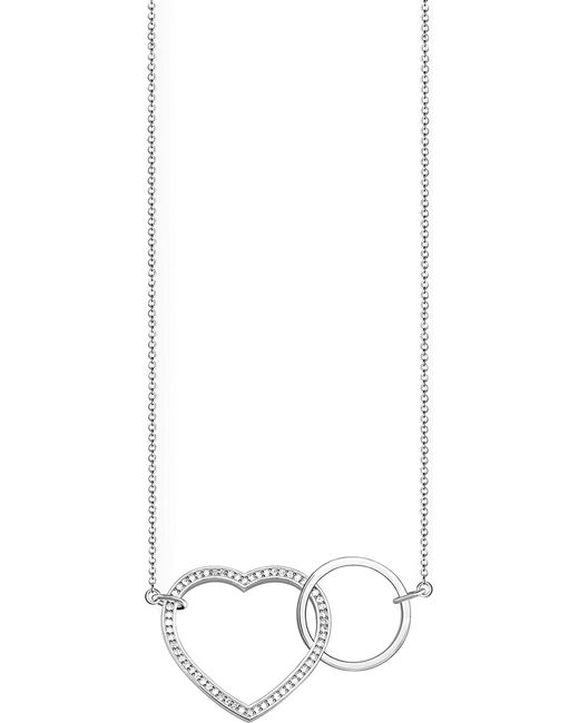 Thomas Sabo - Black Together Heart Large Sterling Silver And Crystal Necklace - Lyst
