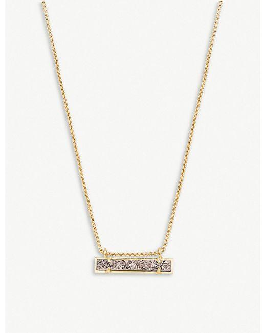 Kendra Scott - Metallic Leanor 14ct Gold-plated Platinum Drusy Bar Pendant Necklace - Lyst