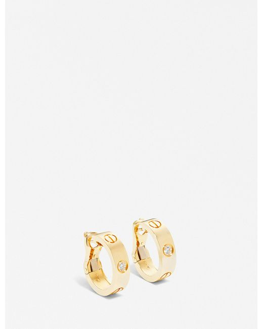Cartier - Love 18ct Yellow-gold And Diamond Earrings - Lyst