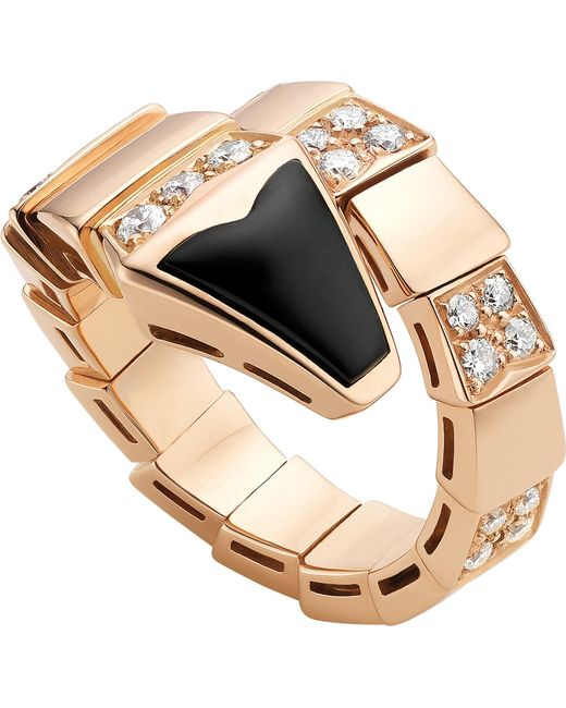 BVLGARI - Metallic Serpenti 18kt Pink-gold And Black-onyx Ring - Lyst