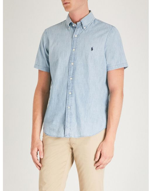57660688 ... best price polo ralph lauren blue embroidered logo cotton shirt for men  lyst 16857 dc73c
