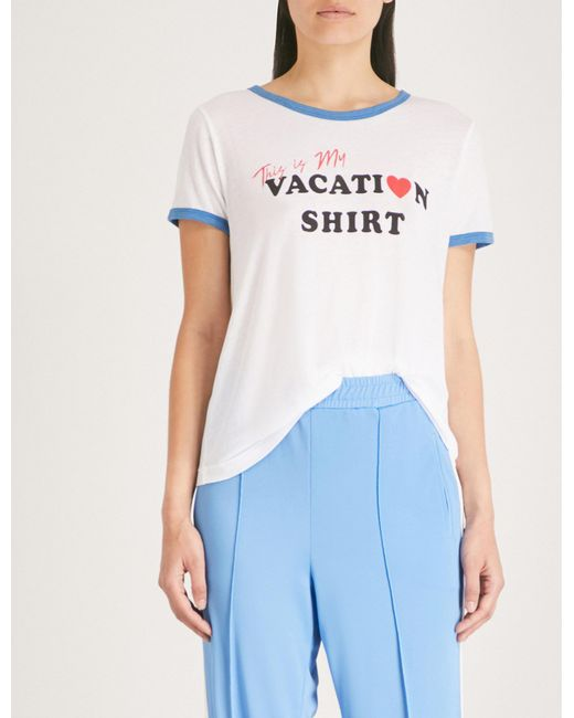 Wildfox - Blue This Is My Vacation Shirt Print T-shirt - Lyst