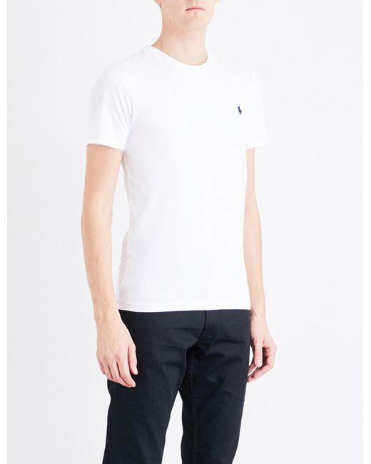 b3c4101f13c60 Polo Ralph Lauren - White Logo-embroidered Cotton-jersey T-shirt for Men