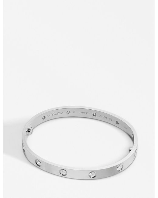 Cartier | Love 18ct White-gold And Diamond Bracelet | Lyst