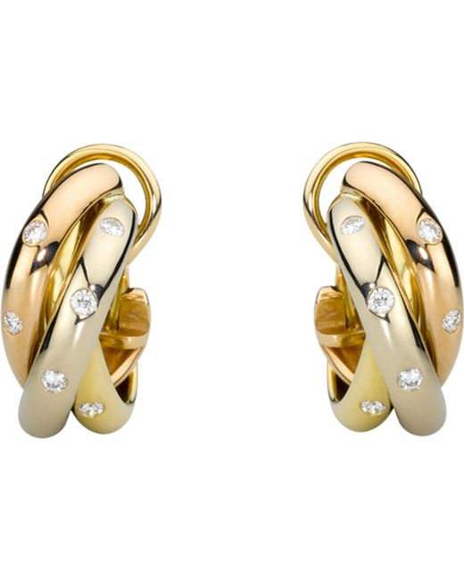 Cartier - Metallic Trinity 18ct Gold And Diamond Earrings - Lyst