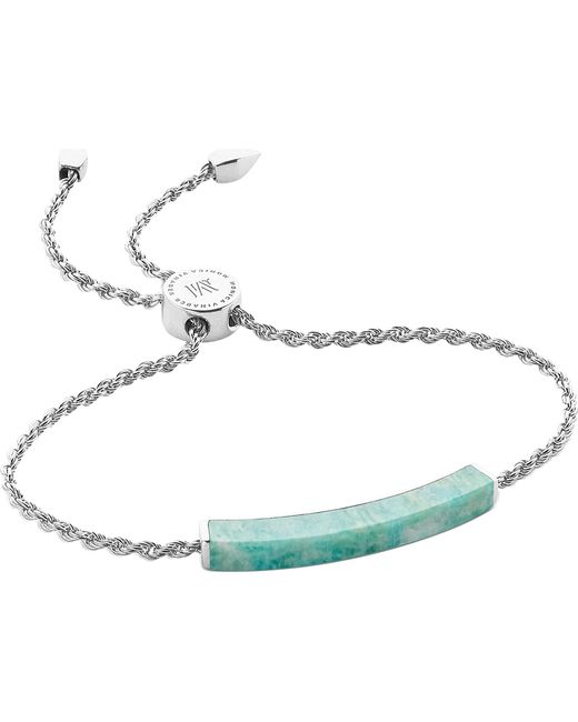 Monica Vinader - Metallic Linear Sterling Silver And Amazonite Bracelet - Lyst