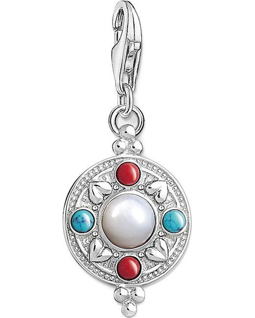 Thomas Sabo - Black Charm Club Lotus Coin Silver Charm Pendant - Lyst
