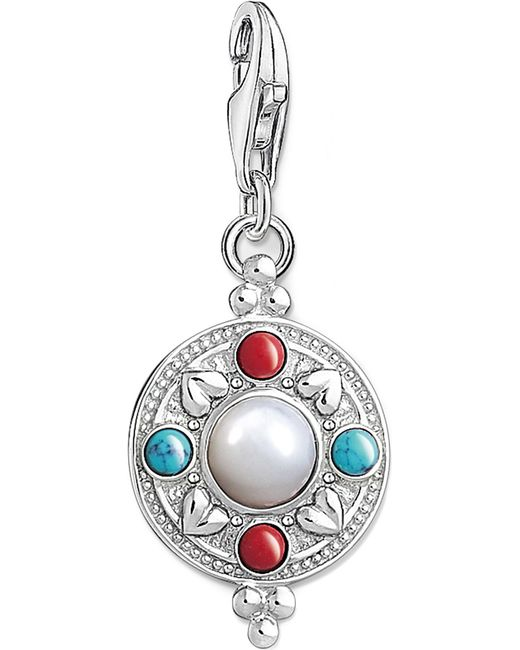 Thomas Sabo | Metallic Charm Club Lotus Coin Silver Charm Pendant | Lyst