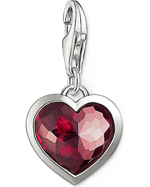 Thomas Sabo | Metallic Charm Club Silver And Corundum Heart Charm | Lyst