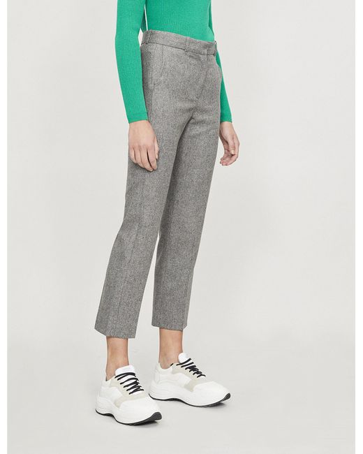 Sandro - Gray High-rise Hopsack-weave Wool-blend Straight-leg Trousers - Lyst