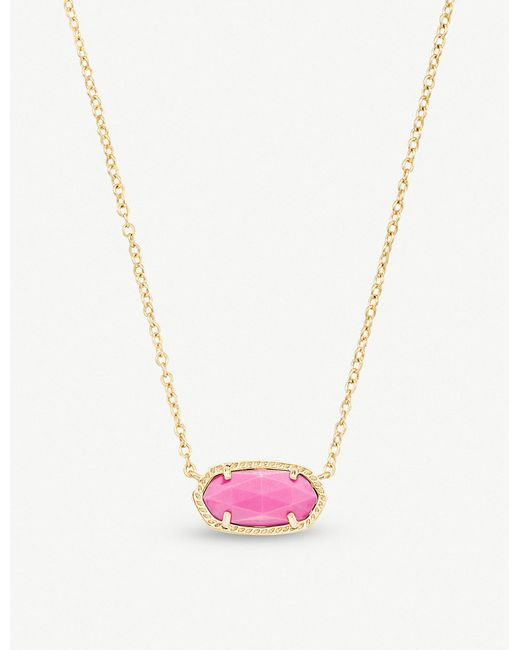Kendra Scott - Metallic Elisa 14ct Gold-plated And Magenta Magnesite Pendant Necklace - Lyst
