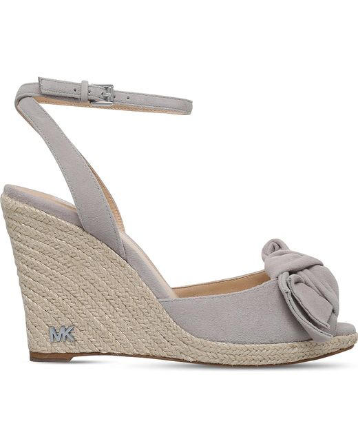 MICHAEL Michael Kors | Gray Willa Suede Wedge Espadrilles | Lyst