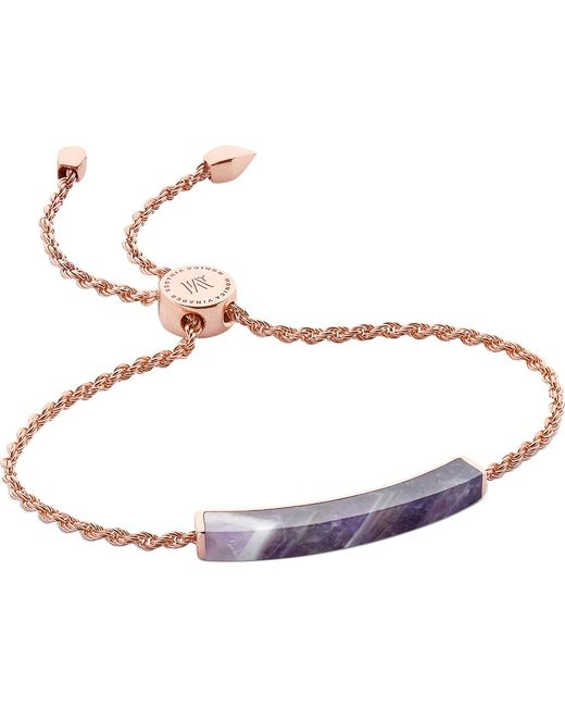 Monica Vinader - Multicolor Linear 18ct Rose Gold-plated And Amethyst Bracelet - Lyst