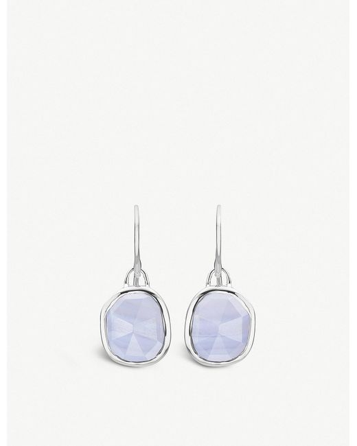 Monica Vinader - Siren Sterling Silver And Blue Lace Agate Wire Earrings - Lyst