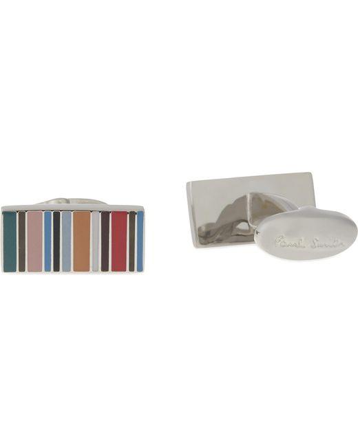 Paul Smith   White Multi-stripe Rectangle Cufflinks for Men   Lyst