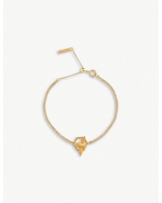 Olivia Burton - Metallic Honeycomb Bee 18ct Gold-plated Chain Bracelet - Lyst