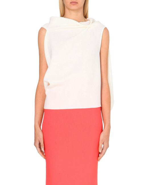 Roland Mouret | White Eugene Cowl-neck Wool-crepe Top | Lyst