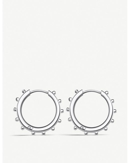 Thomas Sabo - Metallic Studded Sterling Silver Hoop Earrings - Lyst