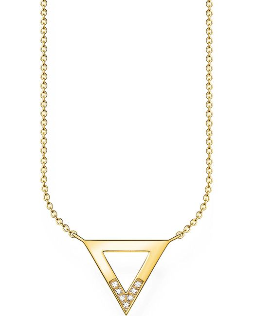 Thomas Sabo - Metallic Triangle 18ct Yellow Gold-plated Diamond Necklace - Lyst
