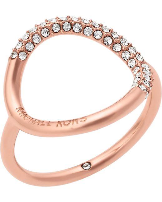 Michael Kors | Metallic Brilliance Rose Gold-toned Pavé Ring | Lyst
