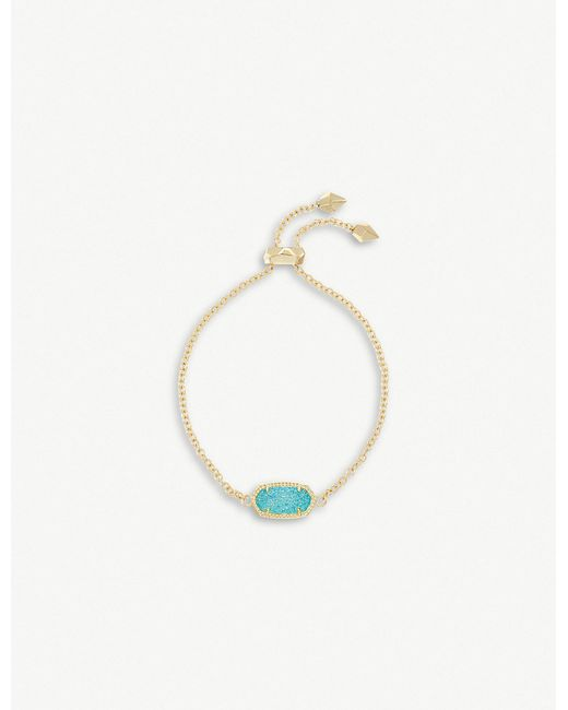 Kendra Scott - Metallic Elaina 14ct Gold And Teal Drusy Chain Bracelet - Lyst