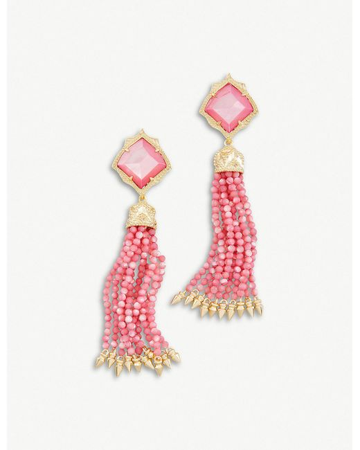 Kendra Scott - Pink Misha 14ct Gold-plated And Mother-of-pearl Earrings - Lyst