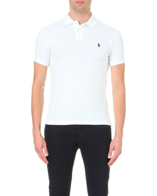 Polo Ralph Lauren - White Slim–fit Mesh Polo Shirt for Men - Lyst