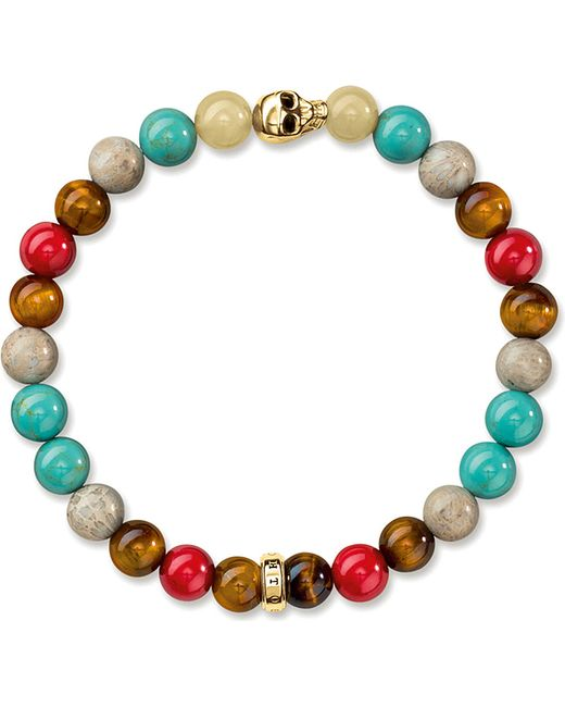 Thomas sabo rebel at heart gold plated beaded skull for Rebel designs jewelry sale