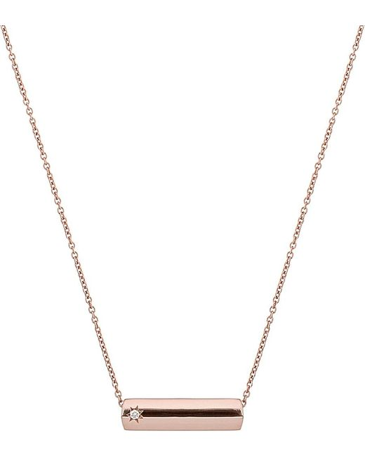 The Alkemistry | Metallic Star Bar 9ct Rose Gold And Diamond Necklace | Lyst