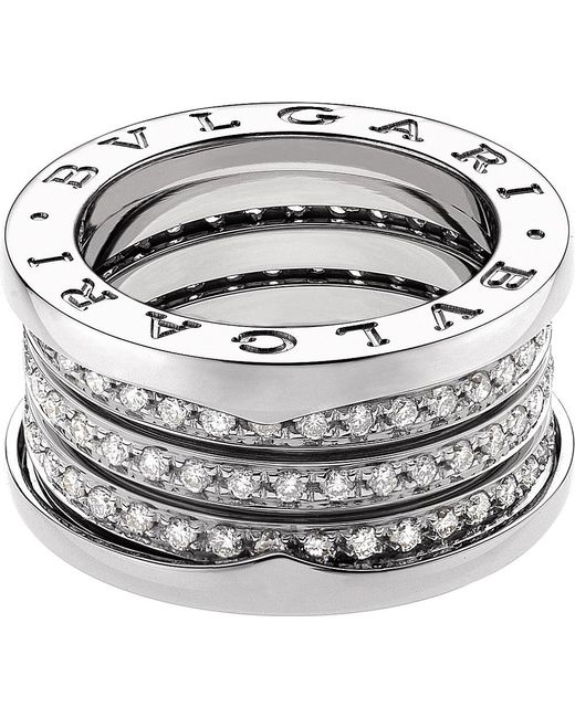 BVLGARI | B.zero1 Four-band 18kt White-gold And Diamond Ring | Lyst