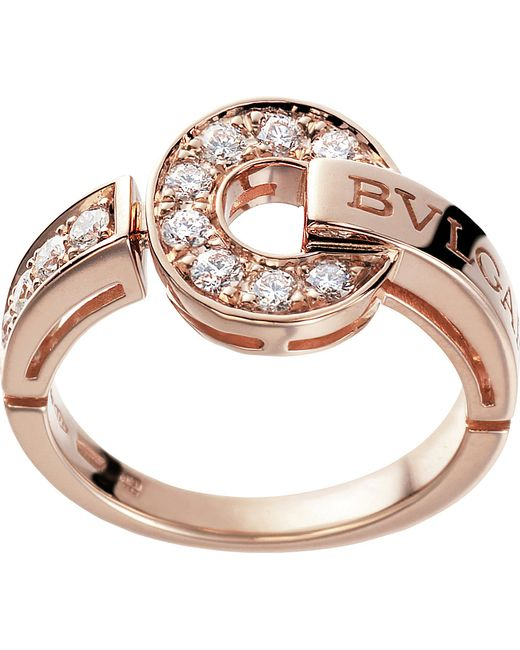 BVLGARI | - 18kt Pink-gold And Diamond Ring | Lyst