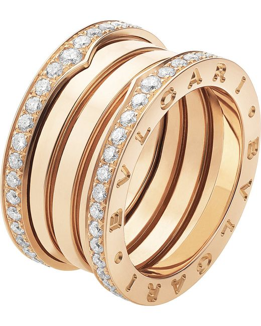BVLGARI | B.zero1 Four-band 18kt Pink-gold And Diamond Ring | Lyst