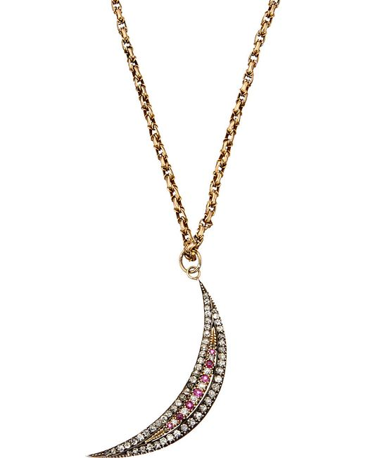 Annina Vogel | Red Bespoke Diamond And Ruby Crescent Necklace | Lyst