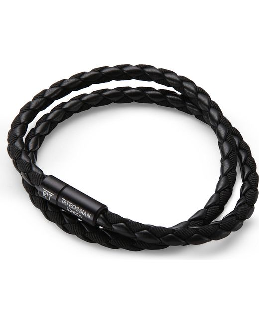 Tateossian | Double-wrap Scoubidou Leather Bracelet With Black Clasp | Lyst