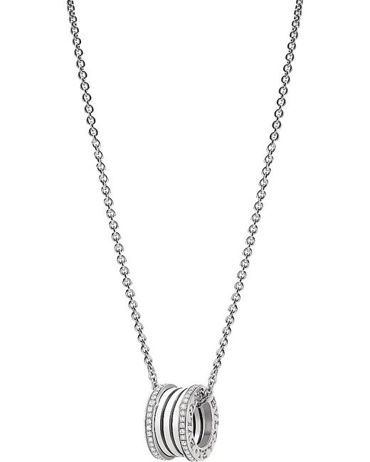 BVLGARI | Metallic B.zero1 18kt White-gold And Diamond Necklace | Lyst