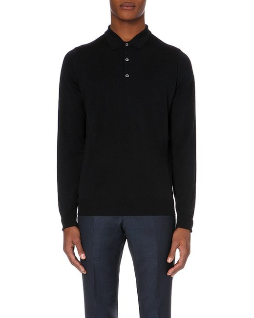 John Smedley | Black Merino Wool Polo Shirt for Men | Lyst